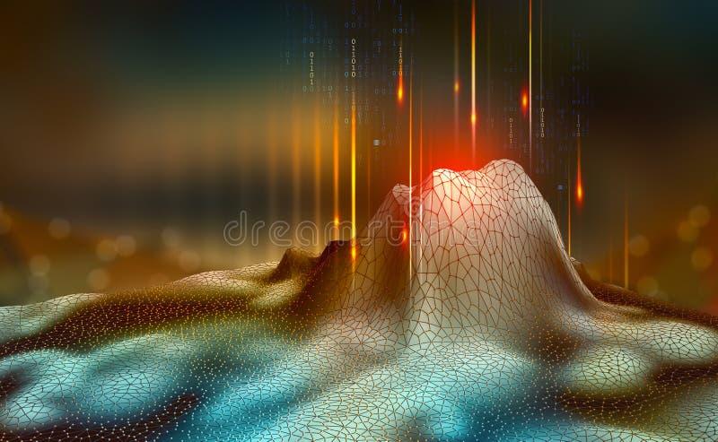 Stort databegrepp Blockchain illustration 3d Nerv- nätverk och konstgjord intelligens vektor illustrationer