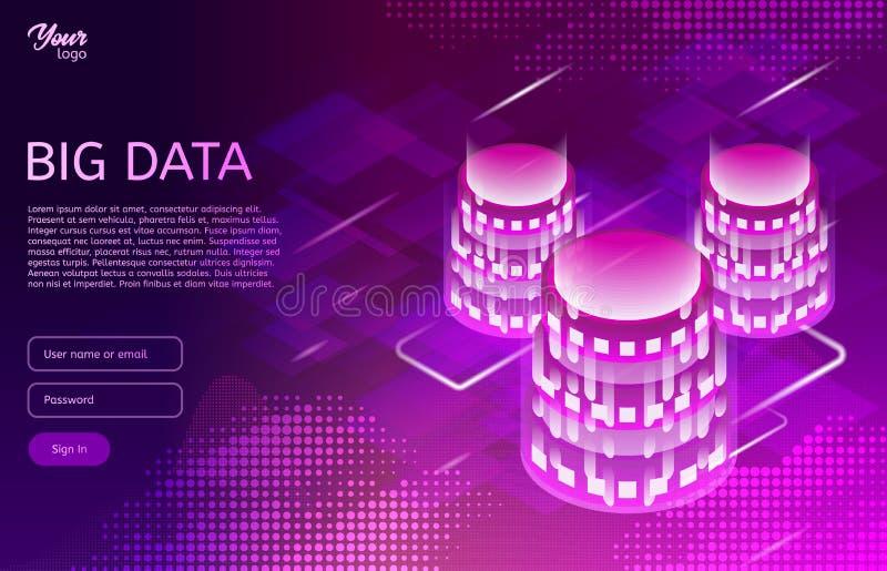 Stort datadesignbegrepp Isometrisk vektorillustration det vidfästa internetnätverket shapes teknologier stock illustrationer