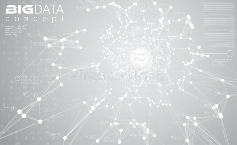 Stort dataljus - grå bakgrundsvektorillustration Vit visualization för informationsströmmitt Framtida digital teknologi stock illustrationer