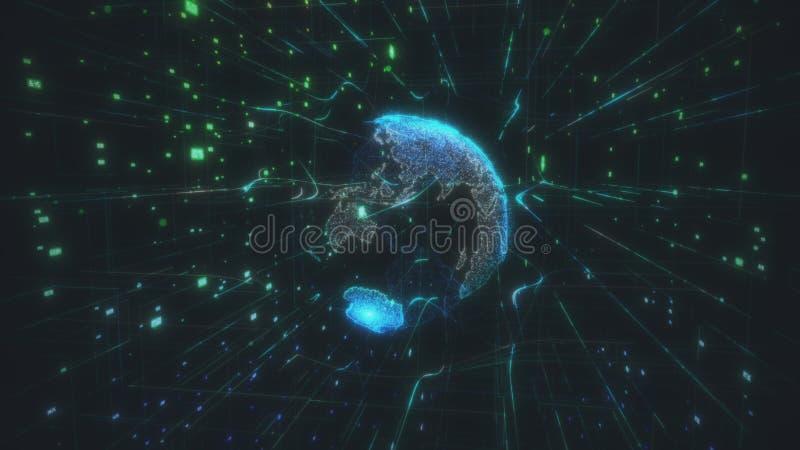 Stort datamoln runt om den digitala internet för anslutning för nätverk för tolkning för abstrakt begrepp 3D för jorddatajordklot royaltyfri illustrationer