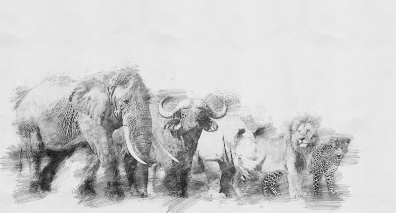 Stort djur för afrikan fem Skissa med blyertspennan stock illustrationer