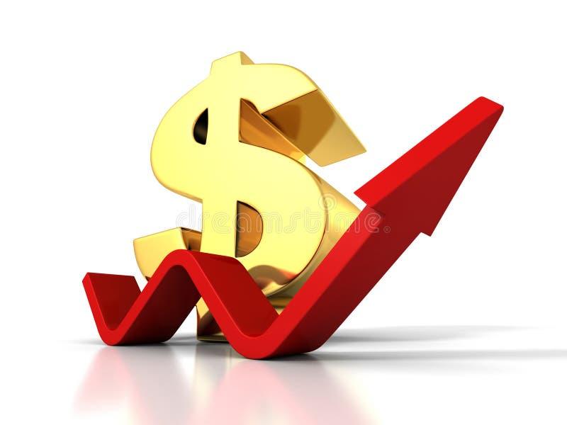 Stort dollarvalutasymbol med stigning växande upp pil arkivfoto
