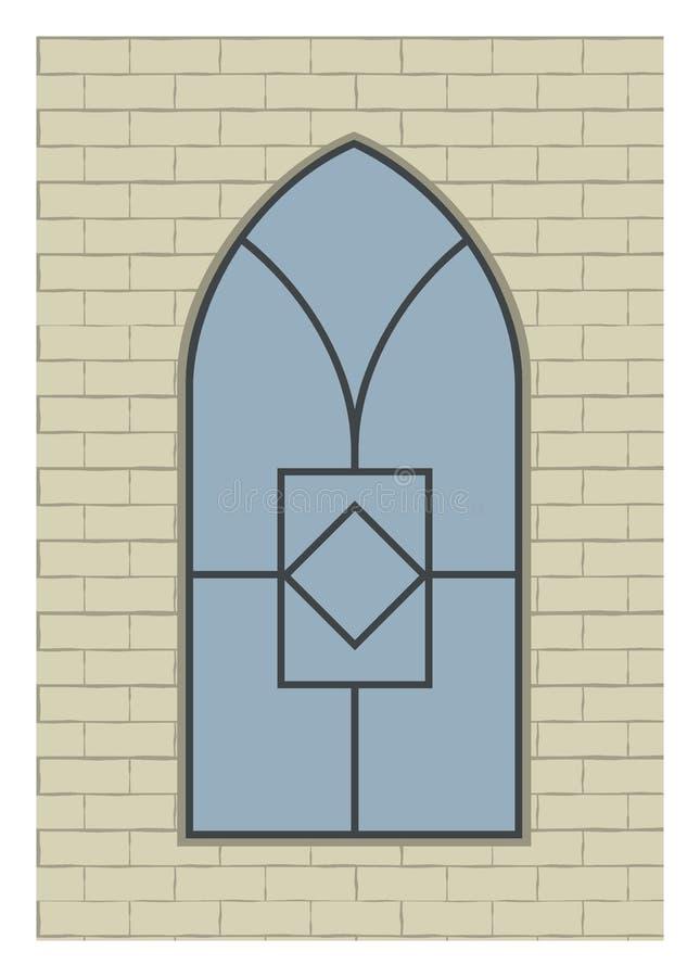 Stort fönster på tegelstenväggen stock illustrationer