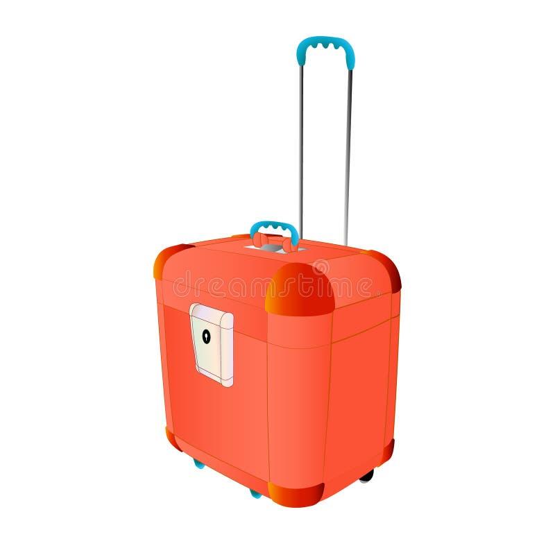 Stort för plast- resväska för lopp rött med hjul Idérik vektorillustration av isolerat Abstrakt begreppsdiagram Konstdesigntrav royaltyfri illustrationer