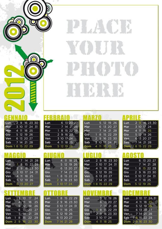 stort för ramitalienare för kalender 2012 foto royaltyfri illustrationer