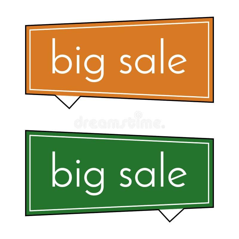 Stort försäljningsapelsin- och gräsplanbaner på vit bakgrund Vektorbakgrund med färgrika designbeståndsdelar stock illustrationer