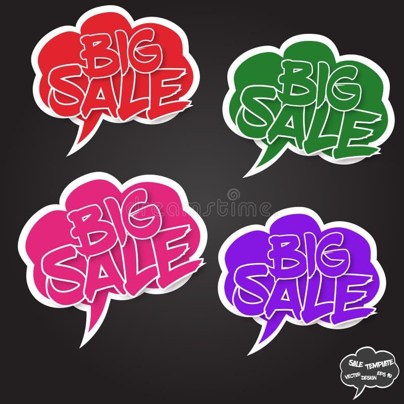Stort försäljningsbegrepp för vektor i komikerbubblor stock illustrationer