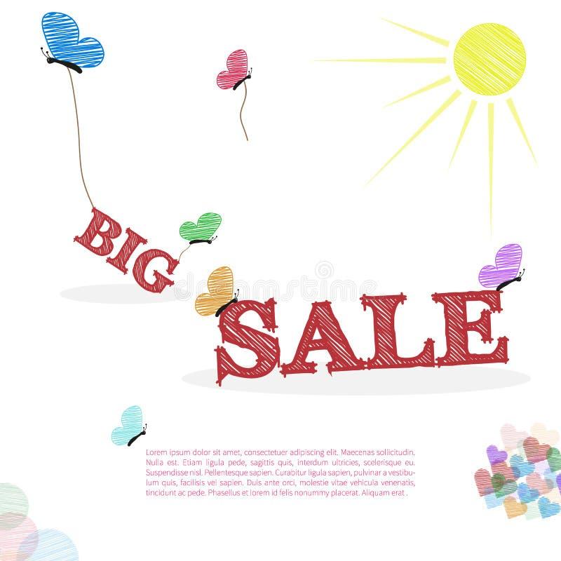 Stort försäljningsbegrepp i klotterstil vektor illustrationer