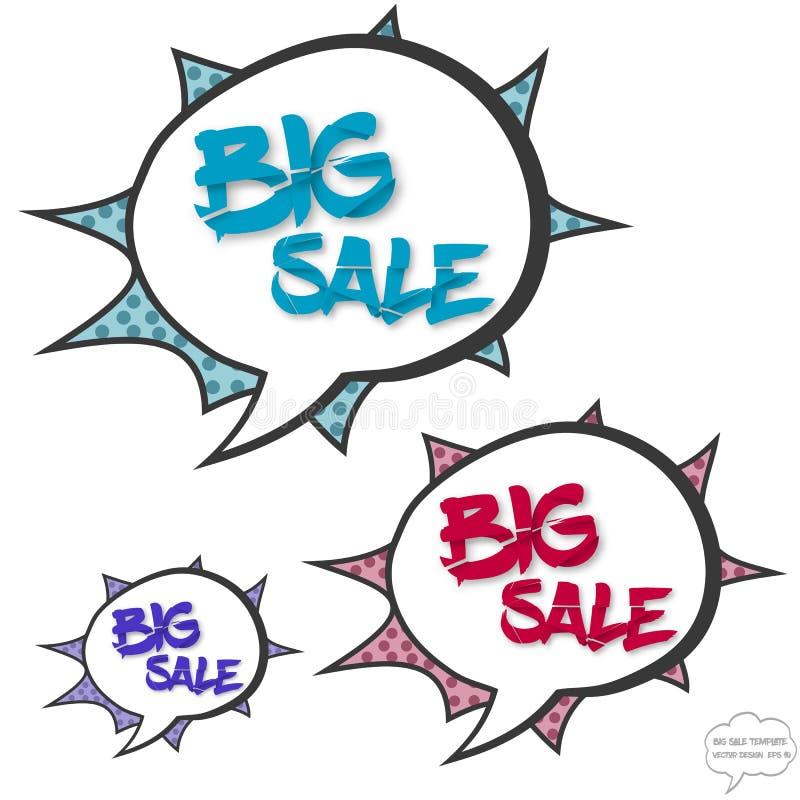 Stort försäljningsbegrepp i komikerbubblor stock illustrationer