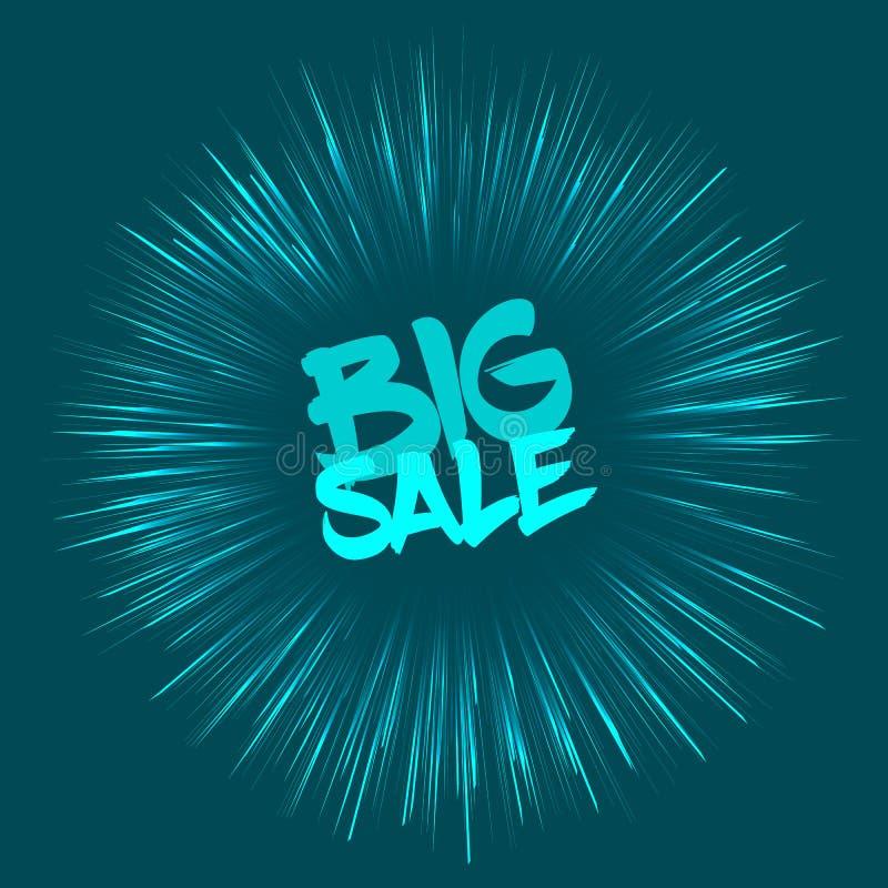 Stort försäljningsbegrepp med fyrverkerieffekt stock illustrationer