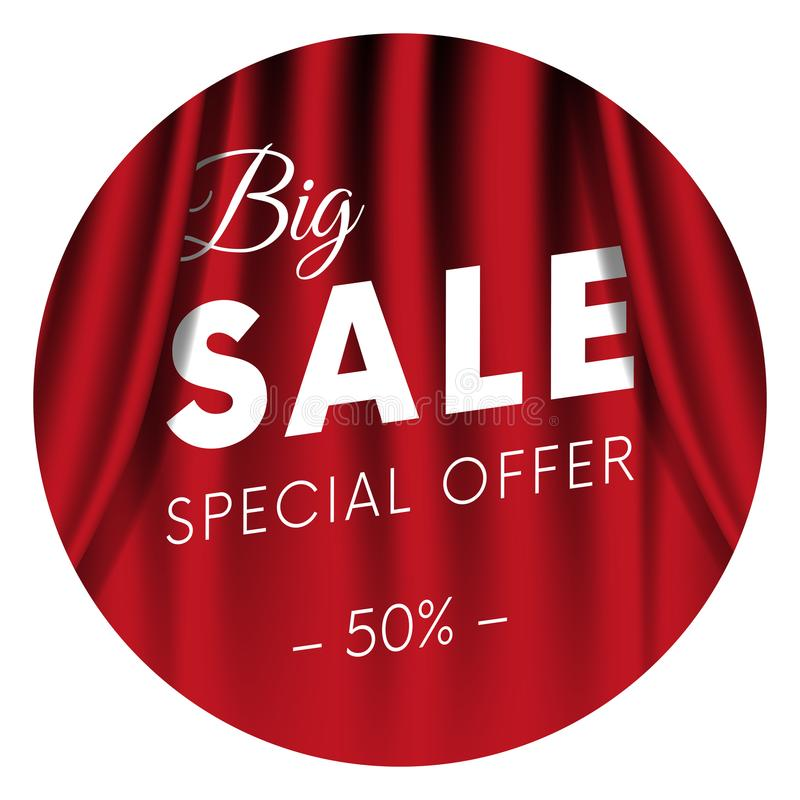 Stort försäljningsklistermärke eller baner Specialt erbjudande femtio av procent Realistisk röd gardinbakgrund också vektor för c vektor illustrationer