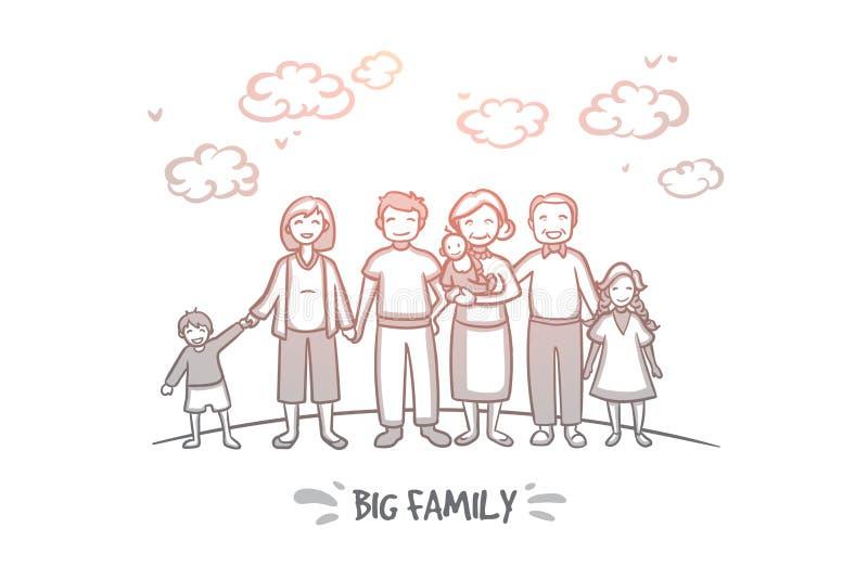 Stort familjbegrepp Hand dragen isolerad vektor stock illustrationer