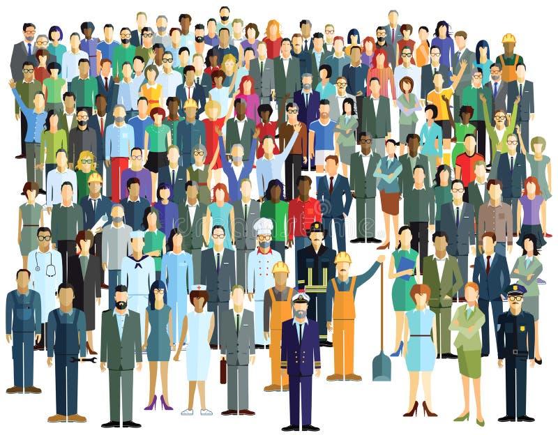 stort folk för folkmassa royaltyfri illustrationer
