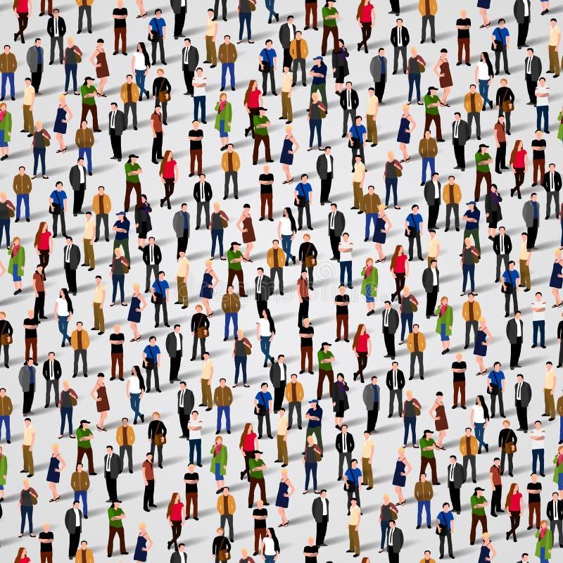 stort folk för grupp Seamless bakgrund stock illustrationer