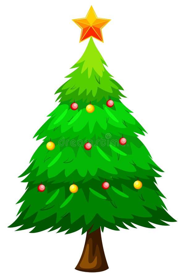 Stort grönt julträd royaltyfri illustrationer