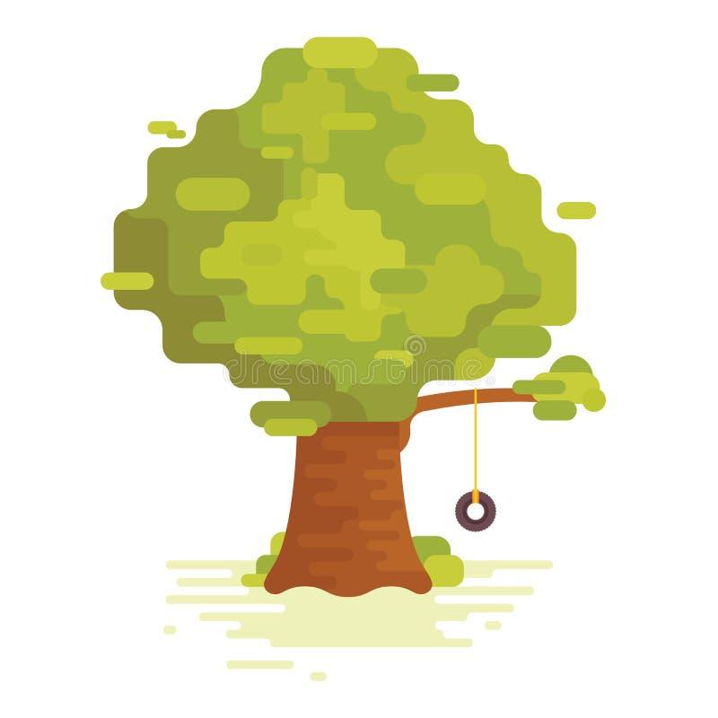 Stort grönt träd med gunga royaltyfri illustrationer