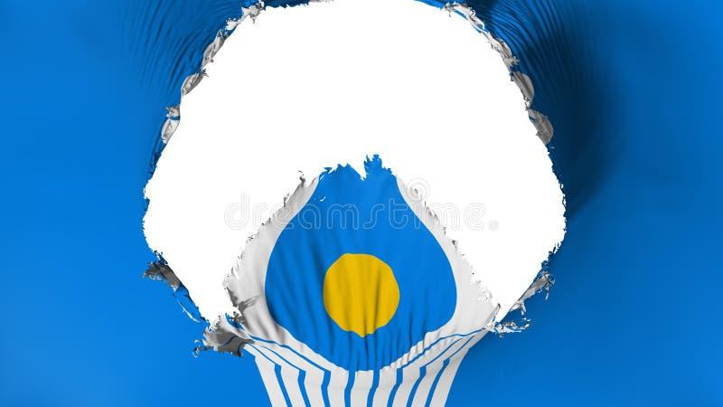Stort hål i CIS flagga stock illustrationer