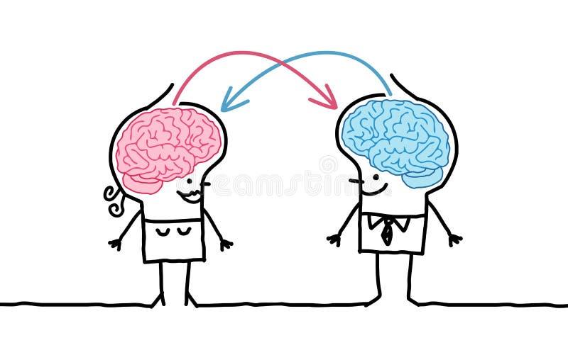 Stort hjärnpar & utbyte stock illustrationer