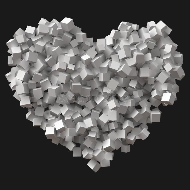 Stort hjärtasymbol som bildas av slumpmässiga kuber vektor illustrationer