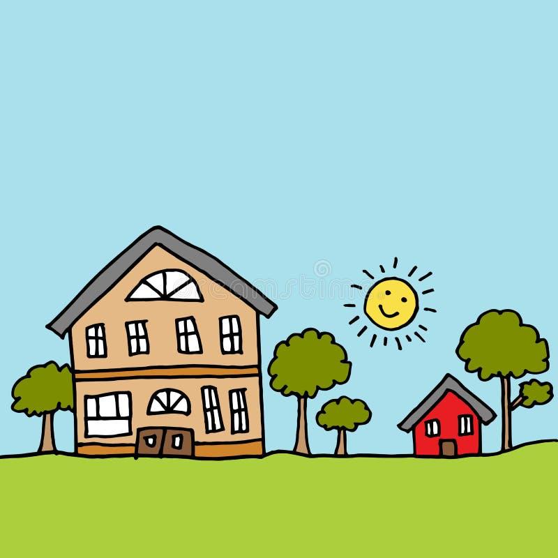 Stort hus bredvid ett mycket litet hus royaltyfri illustrationer