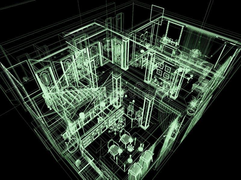 stort hus för arkitektur stock illustrationer