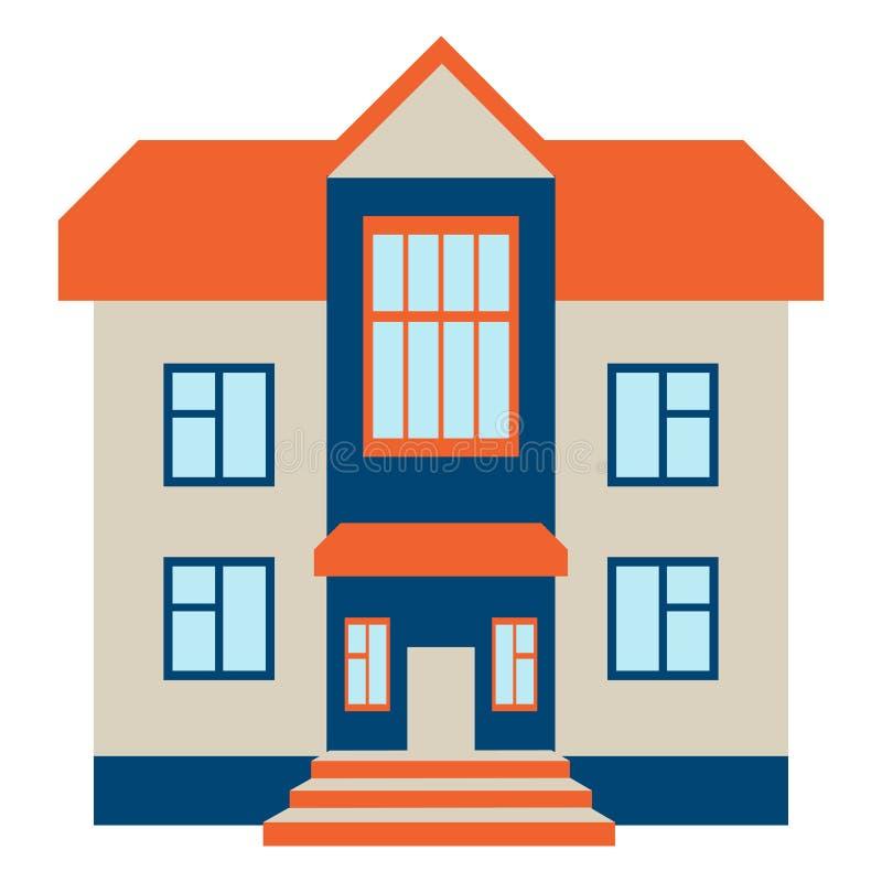 stort hus Isolerat på vita Beckground vektor illustrationer