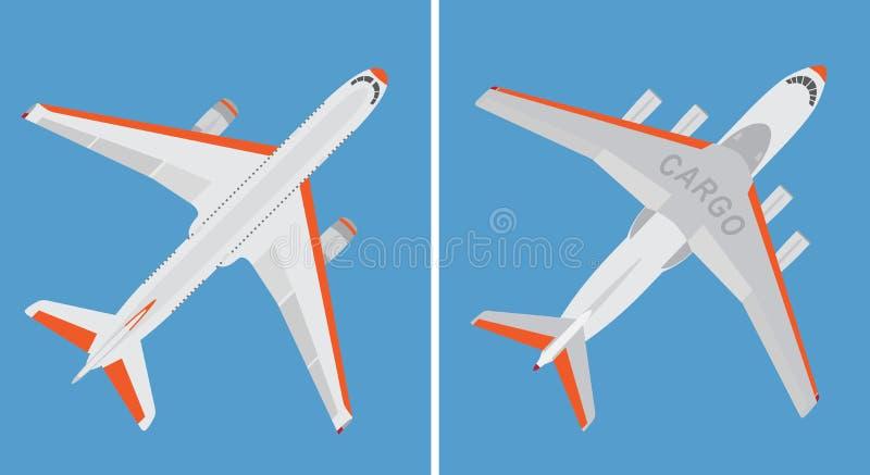 Stort kommersiell nivå- och lastflygplan som isoleras på blå bakgrund royaltyfri illustrationer