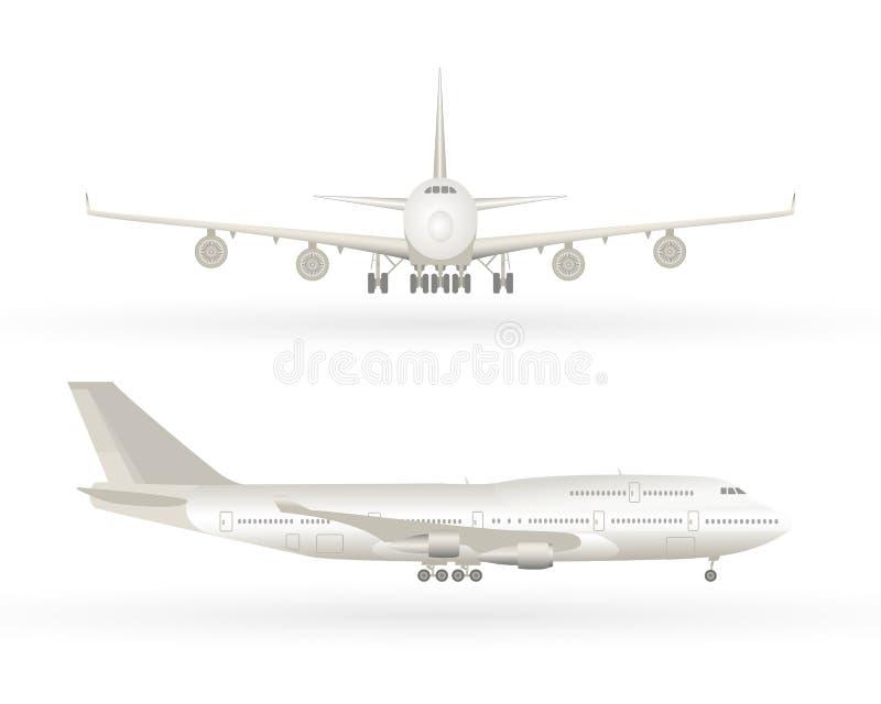 Stort kommersiellt strålflygplan Flygplan i profilen, framifrån sikt Isolerat flygplan Flygplanvektorillustration vektor illustrationer