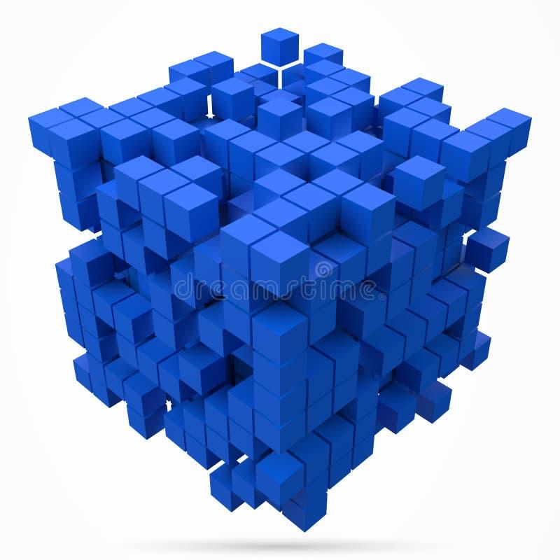 Stort kubikdatakvarter gjort med mindre blåa kuber för stilvektor för PIXEL 3d illustration royaltyfri illustrationer
