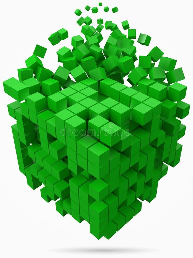 Stort kubikdatakvarter gjort med mindre gröna kuber för stilvektor för PIXEL 3d illustration royaltyfri illustrationer