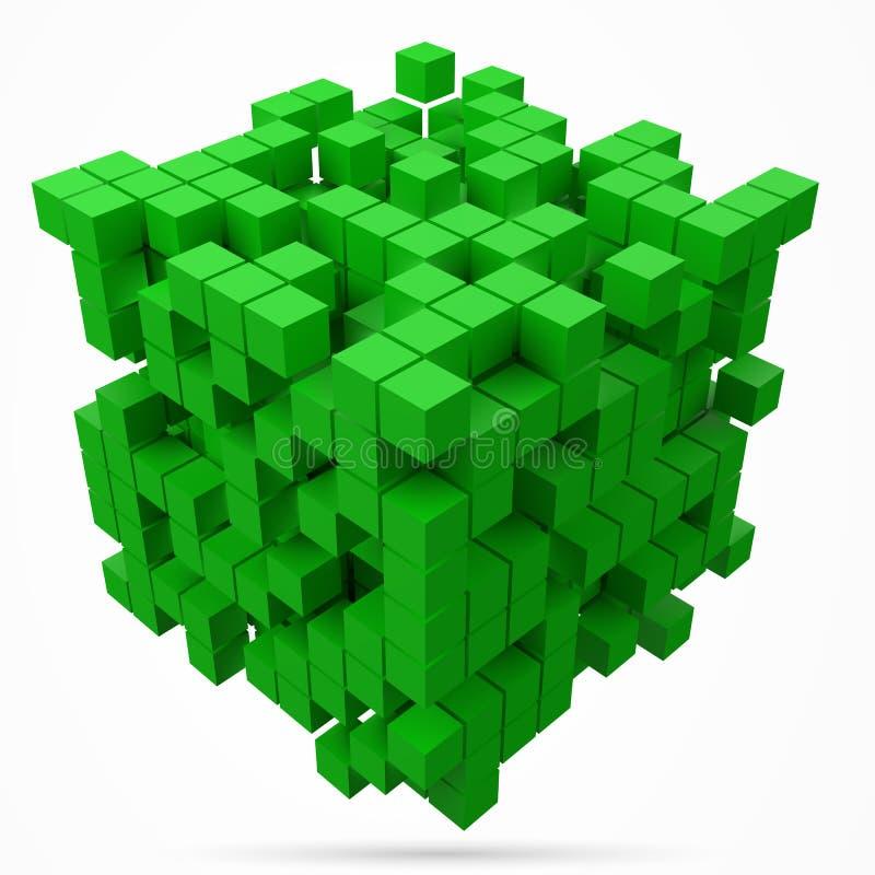 Stort kubikdatakvarter gjort med mindre gröna kuber för stilvektor för PIXEL 3d illustration vektor illustrationer