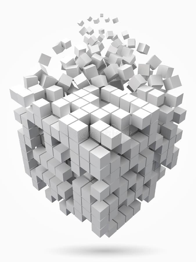 Stort kubikdatakvarter gjort med mindre vita kuber för stilvektor för PIXEL 3d illustration royaltyfri illustrationer