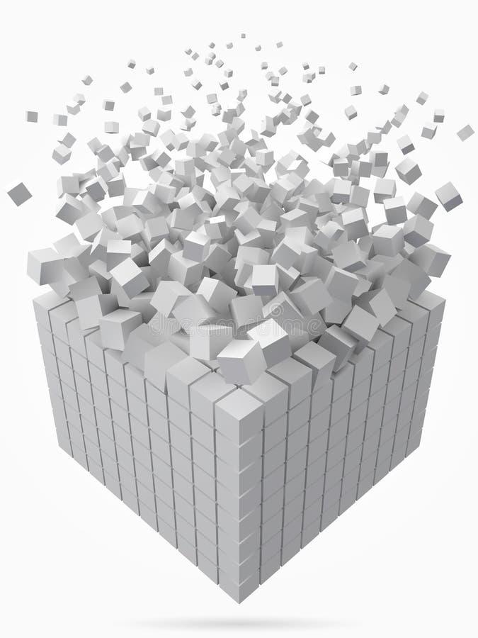 Stort kubikdatakvarter gjort med mindre vita kuber för stilvektor för PIXEL 3d illustration vektor illustrationer