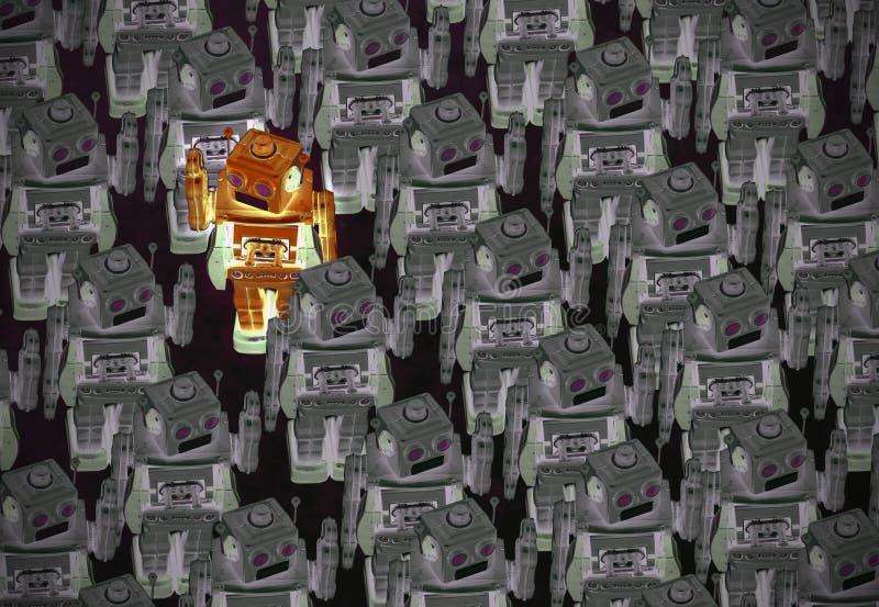 Stort lag av den udda mannen för robotar ut royaltyfria bilder