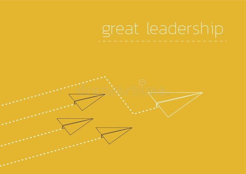 Stort ledarskap med ett vikt pappers- fartyg royaltyfri illustrationer