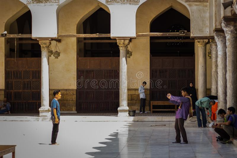 Stort minne i den Azhar moskén fotografering för bildbyråer