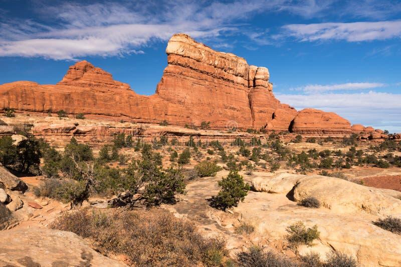 Stort monolitiskt vaggar visarområdet i Utah royaltyfria foton