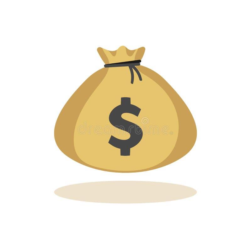 Stort mycket av myntpengarpåse vektor illustrationer