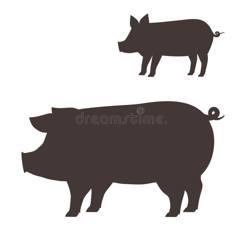 Stort och litet svin stock illustrationer