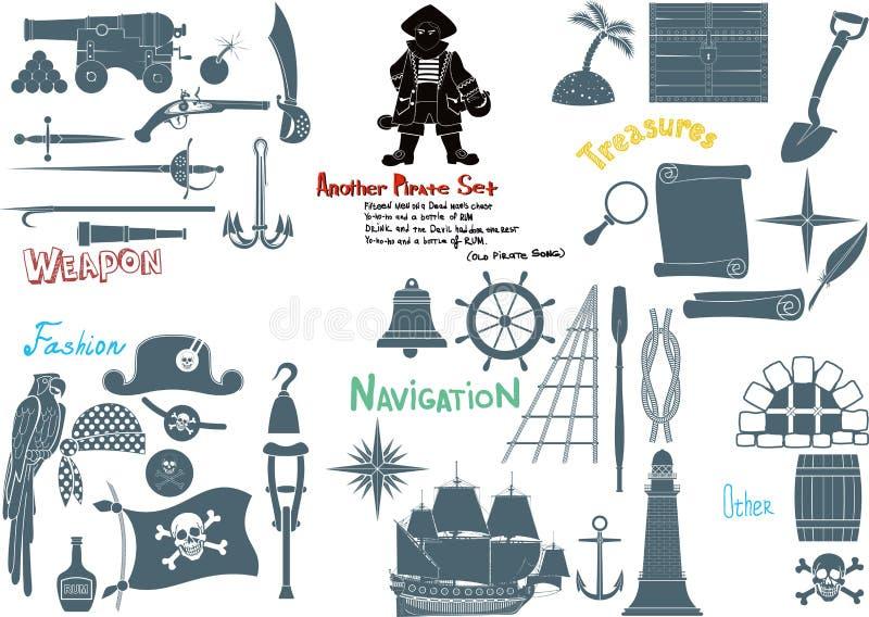 Stort piratkopiera uppsättningen royaltyfri illustrationer