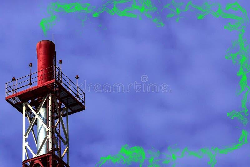 Stort rör för röd metall på violett färgbakgrund med grön giftlig rök royaltyfri bild