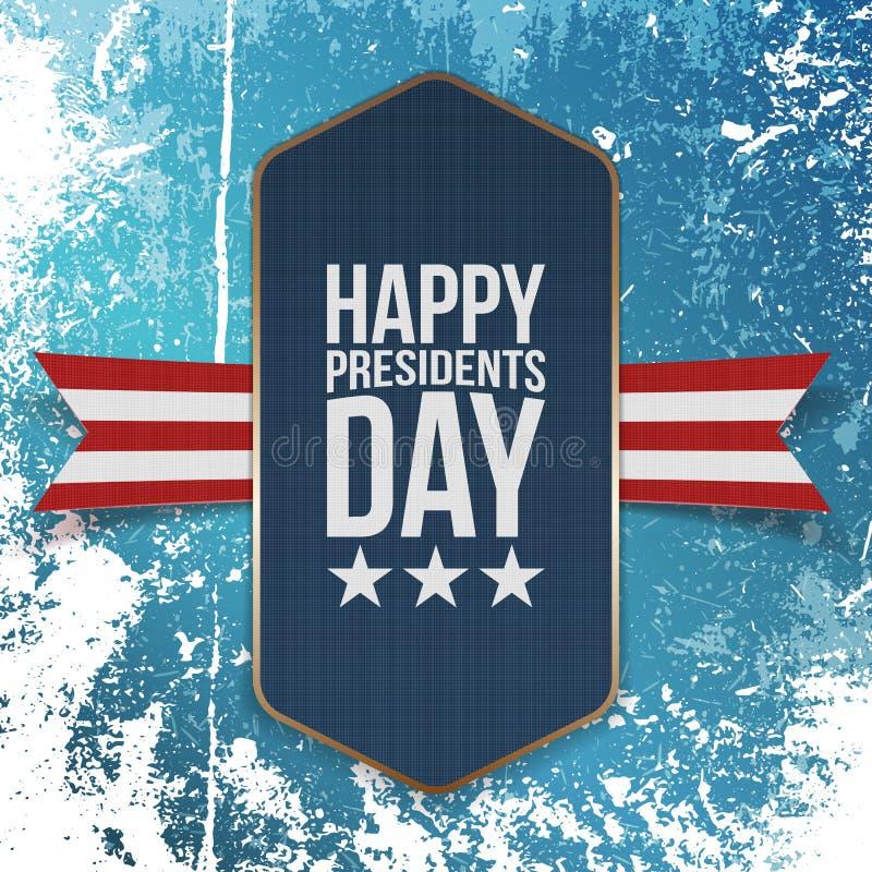 Stort realistiskt blått baner för lycklig presidentdag royaltyfri illustrationer