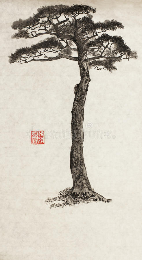 Stort sörja treen royaltyfri illustrationer