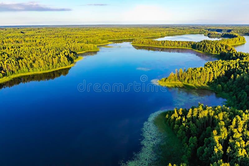 Stort sjösystem i ljust solljus, flyg- landskap Rekreationbegrepp Ekologi i Europa royaltyfria foton