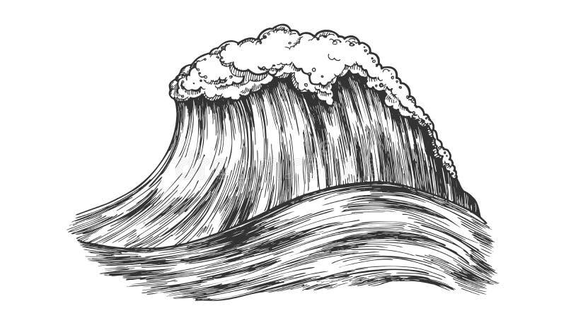 Stort skummande tropiskt hav Marine Wave Storm Vector stock illustrationer
