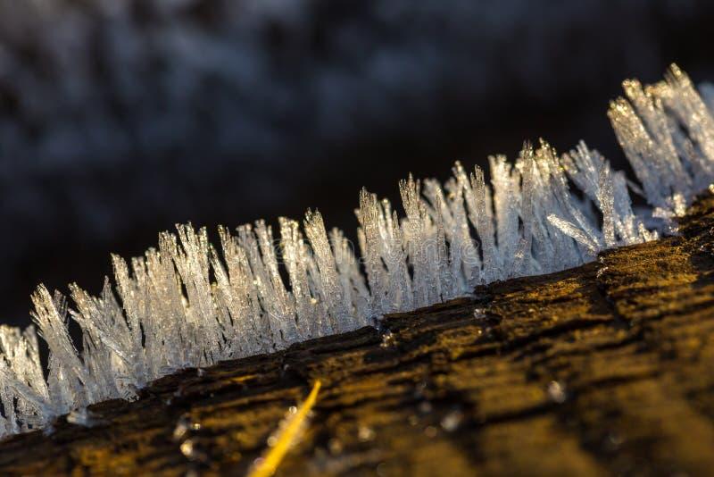 Stort slut upp av snö- eller iskristaller arkivbilder