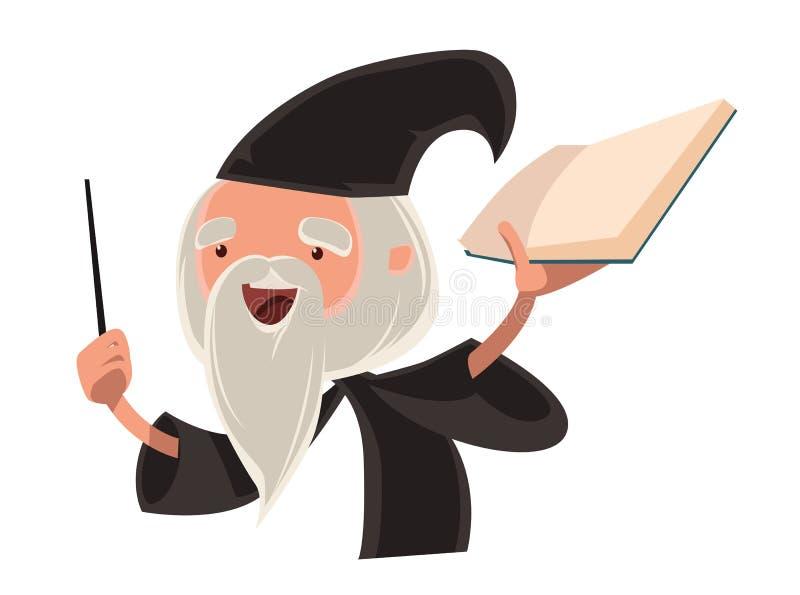 Stort tecken för tecknad film för trollkarlgamal manillustration stock illustrationer
