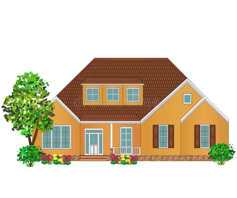 Stort tegelstenfamiljhus vektor illustrationer