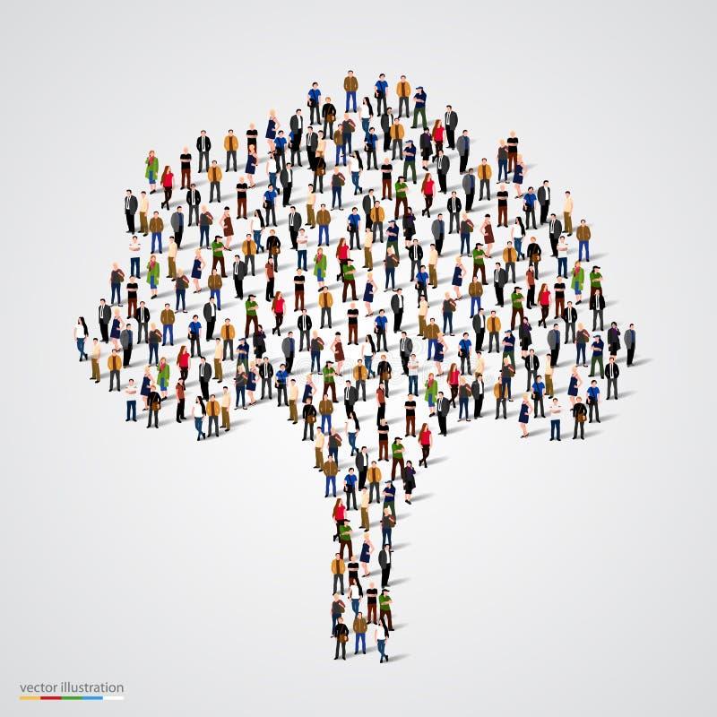 Stort träd som bildas ut ur folk stock illustrationer