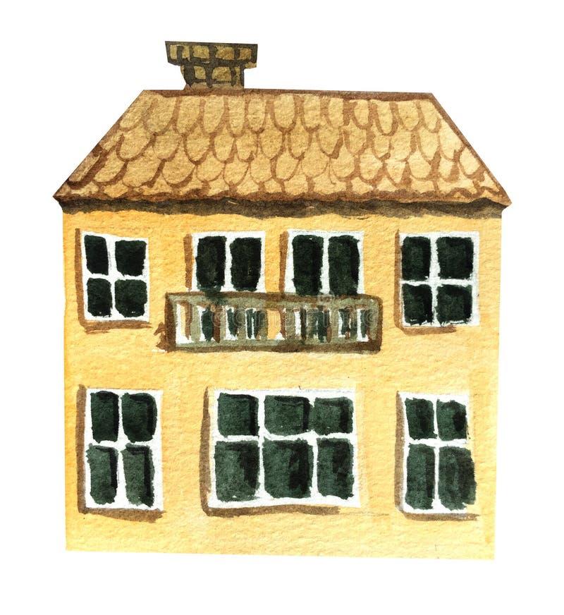 Stort två-berättelse hus med en balkong f?r flygillustration f?r n?bb dekorativ bild dess paper stycksvalavattenf?rg stock illustrationer